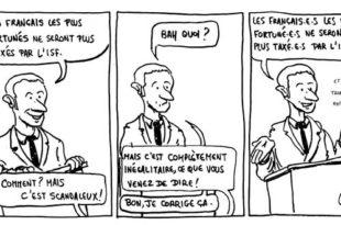 Caricature de Macron parlant de l'ISF