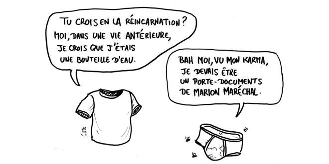 Dessin de Cuzo représentant un slip et un t-shirt discutant de la réincarnation