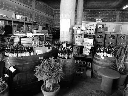 Intérieur de la brasserie des anges avec plusieursde bières artisanales à Chamboulive en Corrèze