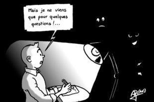 Illustration de Tintin voulant interviewer la société Tellis
