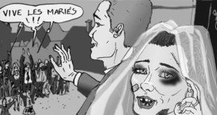 Illustration de violence conjuguale avec une femme battu se marriant