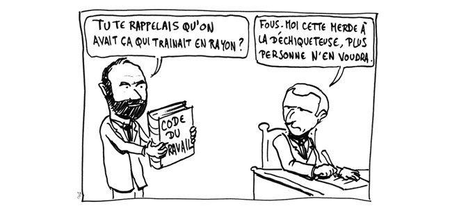 Caricature d'Emmanuel Macron et Édouard Phillipe se foutant du Code du travail