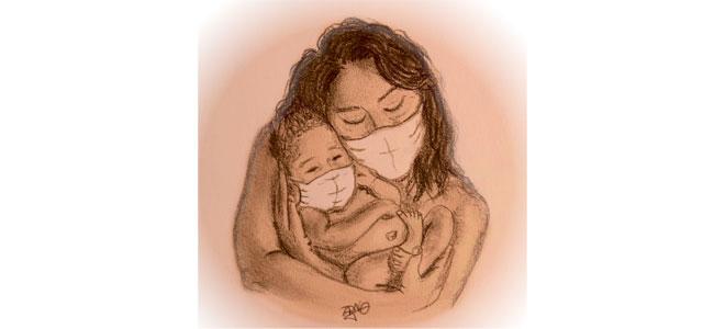 Illustration d'une enfant et d'une mère masqués